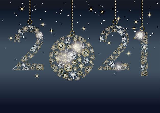 Feliz año nuevo 2021 tarjeta de felicitación con número de copos de nieve