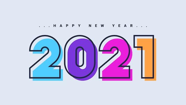 Feliz año nuevo 2021 tarjeta de felicitación