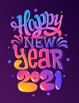 Feliz año nuevo 2021. tarjeta de saludos. letras de colores. ilustración