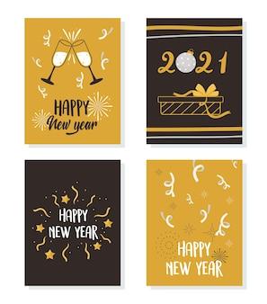 Feliz año nuevo 2021, tarjetas de felicitación celebración temporada regalo confeti y bebidas ilustración vectorial