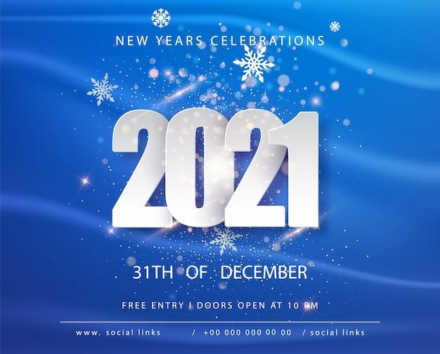 Feliz año nuevo 2021. vacaciones de invierno plantilla de diseño de tarjeta de felicitación azul. carteles de vacaciones de año nuevo. feliz año nuevo fondo festivo azul.