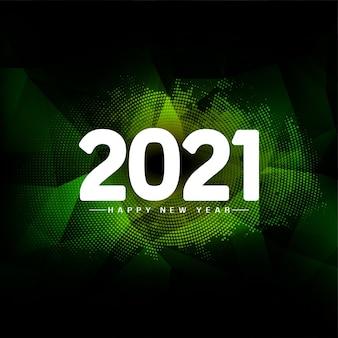 Feliz año nuevo 2021 verde geométrico