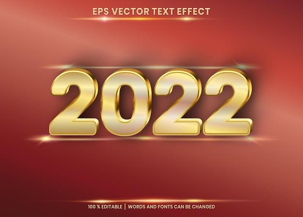 Feliz año nuevo 2022 efecto de texto editable 3d en el fondo