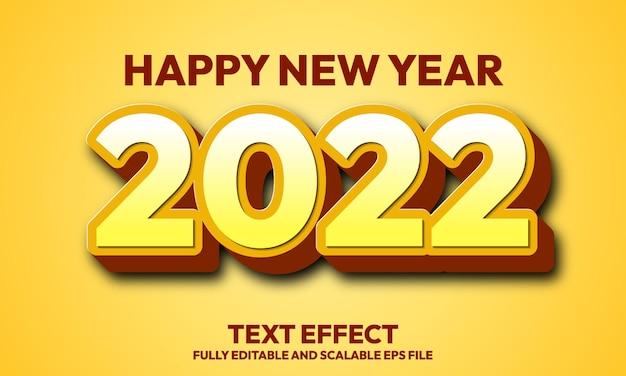 Feliz año nuevo 2022 efecto de texto totalmente editable