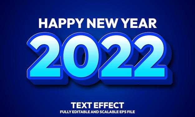 Feliz año nuevo 2022 efecto de texto