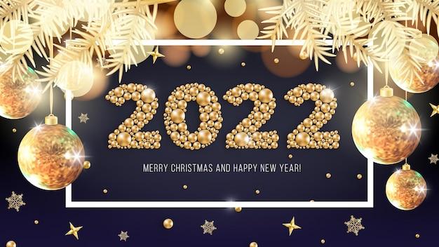 Feliz año nuevo 2022 y feliz navidad diseño de tarjeta de felicitación dorada fondo de vector brillante de navidad