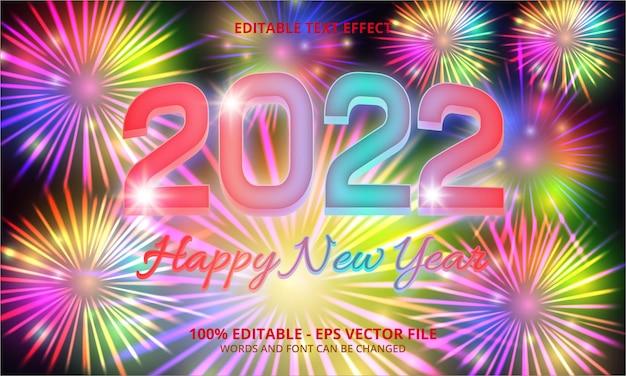 Feliz año nuevo 2022, fuegos artificiales y efecto de texto editable.