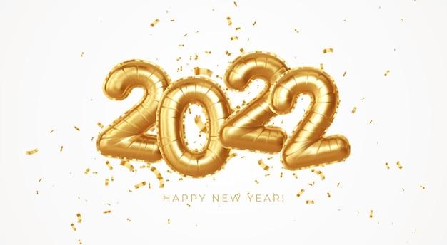 Feliz año nuevo 2022 globos de lámina de oro metálico sobre un fondo blanco. globos de helio dorado número 2022 año nuevo. ilustración de ve3ctor eps10
