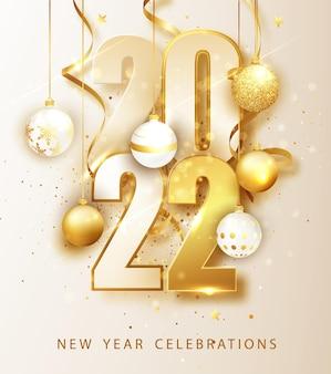 Feliz año nuevo 2022. ilustración de vector de vacaciones de números 2022. números de oro diseño de tarjeta de felicitación.