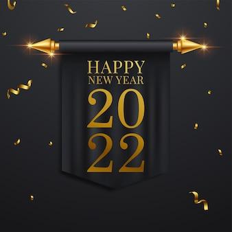 Feliz año nuevo 2022. ilustración de vector de vacaciones de números metálicos dorados 2022