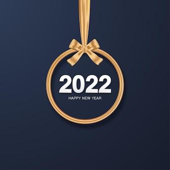 Feliz año nuevo 2022 número con vector de adorno de navidad dorado