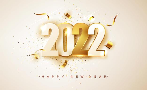 Feliz año nuevo 2022. números blancos y dorados sobre fondo blanco. diseño de tarjetas de felicitación navideñas.