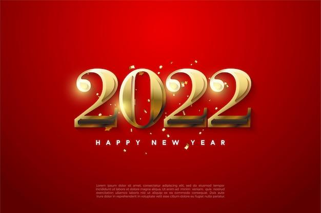Feliz año nuevo 2022 con números dorados brillantes.