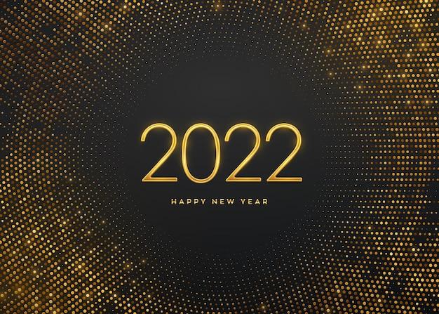 Feliz año nuevo 2022. números de lujo metálico dorado 2022 sobre fondo brillante. signo realista para tarjeta de felicitación. telón de fondo lleno de brillos. cartel o pancarta festiva. ilustración vectorial.
