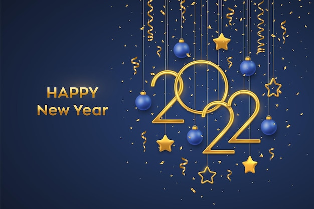 Feliz año nuevo 2022. números metálicos dorados colgantes 2022 con brillantes estrellas metálicas 3d, bolas y confeti sobre fondo azul. tarjeta de felicitación de año nuevo, plantilla de banner. ilustración vectorial realista.