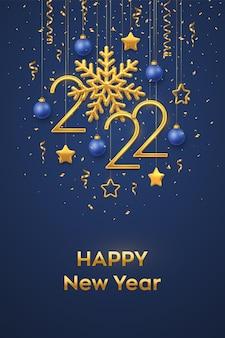 Feliz año nuevo 2022. números metálicos dorados colgantes 2022 con copo de nieve brillante y confeti sobre fondo azul. tarjeta de felicitación de año nuevo o plantilla de banner. decoración navideña. ilustración vectorial.