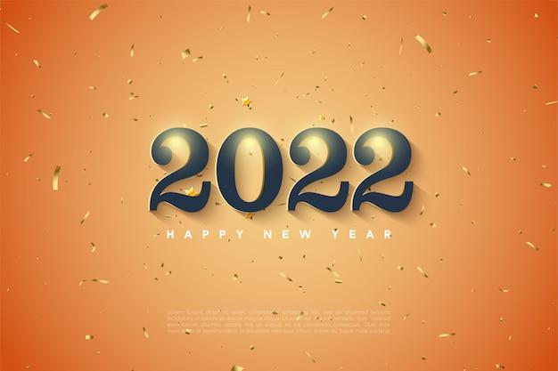 Feliz año nuevo 2022 con números sombreados en blanco suave