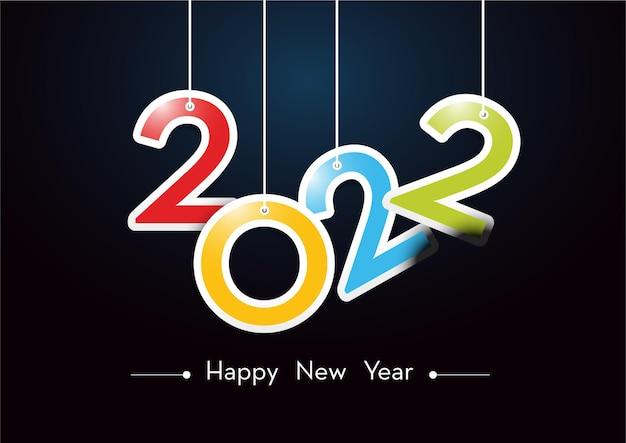Feliz año nuevo 2022 plantilla de banner de tarjeta de felicitación con números colgando de las cuerdas aisladas