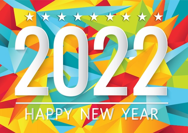 Feliz año nuevo 2022 tarjeta de corte de papel sobre fondo multicolor geometrics