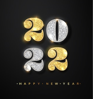 Feliz año nuevo 2022 tarjeta de felicitación con números de brillo brillante dorado y plateado sobre fondo negro. banner con 2022 números sobre fondo brillante.