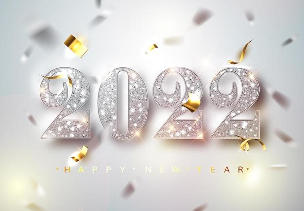 Feliz año nuevo 2022 tarjeta de felicitación con números plateados y marco de confeti sobre fondo blanco. ilustración de vector. diseño de flyer o cartel de feliz navidad