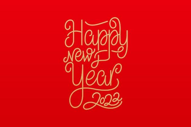 Feliz año nuevo 2022 texto de caligrafía. ilustración de vector para la celebración del año nuevo.