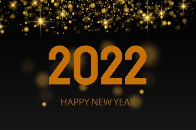 ¡feliz año nuevo 2022! texto retroiluminado dorado elegante. texto minimalista. polvo de oro. tarjeta de felicitación, pancarta, póster. vector de ilustración. una chispa brilla sobre un fondo negro.