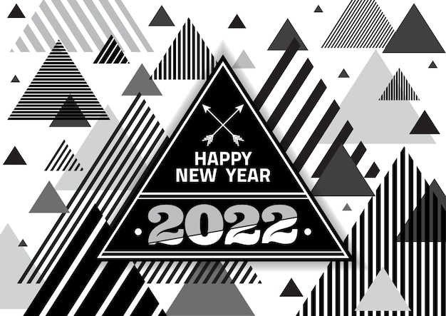 Feliz año nuevo 2022 triángulo con brillo de explosión sobre fondo de color negro