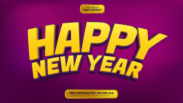 Feliz año nuevo amarillo púrpura efecto de texto editable 3d