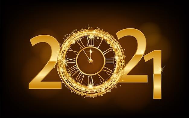 Feliz año nuevo año nuevo fondo brillante con reloj de oro y brillo ilustración