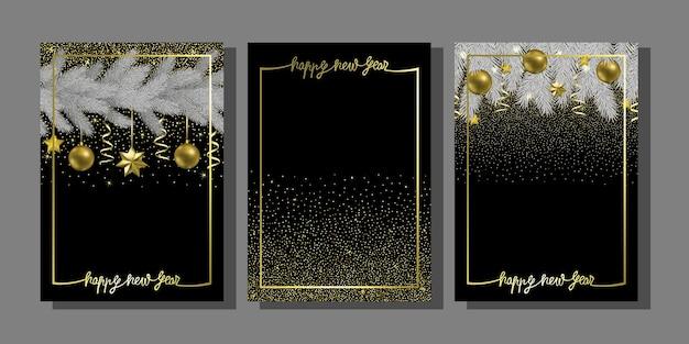Feliz año nuevo con árbol de navidad y plantilla de saludo de brillo dorado