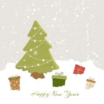 Feliz año nuevo. árbol de navidad y regalos.