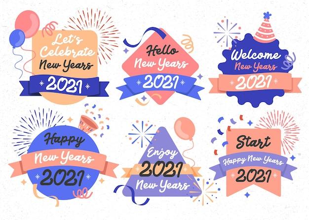 Feliz año nuevo banner 2021 fiesta diseño celebración evento conjunto