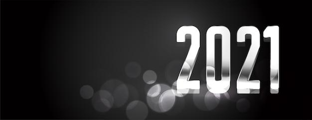 Feliz año nuevo banner brillante negro y plateado