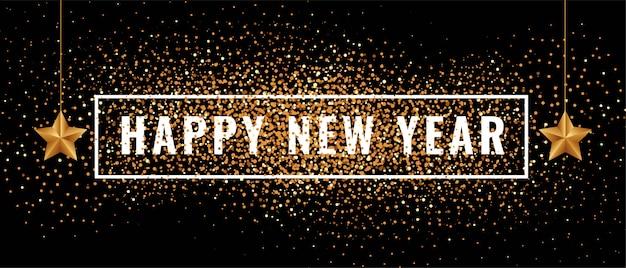 Feliz año nuevo banner con brillos