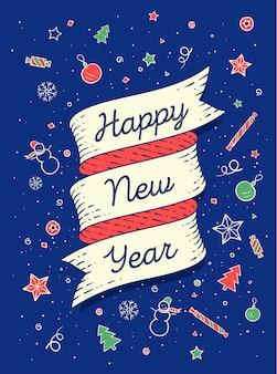 Feliz año nuevo. banner de cinta en estilo colorido brillante con texto feliz año nuevo