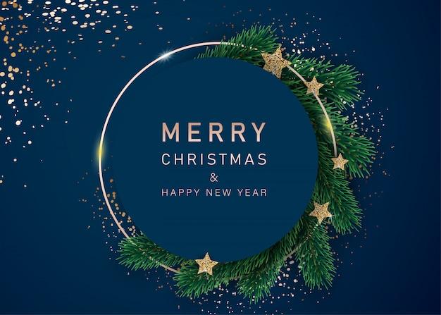 Feliz año nuevo banner con estrellas decoradas y ramas de abeto. con marcos de nieve sobre un fondo azul. diseño de encabezado festivo para su sitio web.