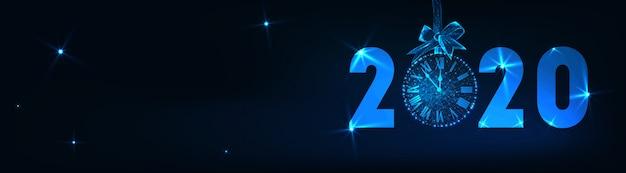 Feliz año nuevo banner con futurista brillante baja poli 2020 texto