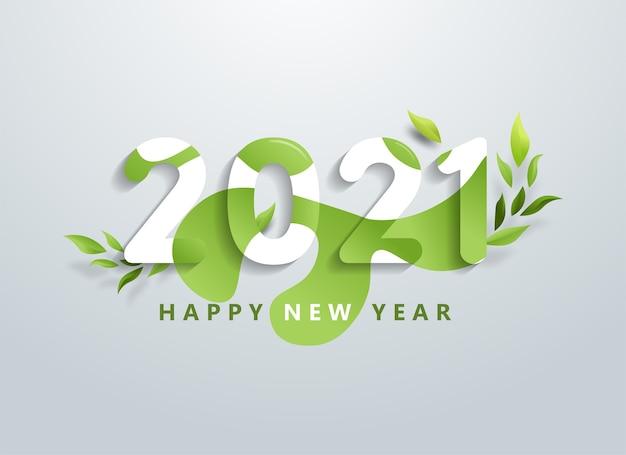 Feliz año nuevo con banner de hojas verdes naturales.