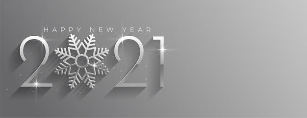 Feliz año nuevo banner plateado brillante con copo de nieve