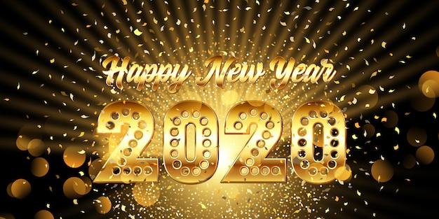 Feliz año nuevo banner con texto dorado metálico con confeti