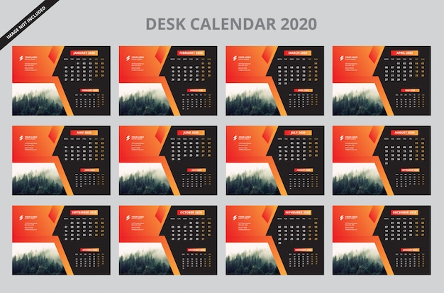 Feliz año nuevo calendario de escritorio 2020