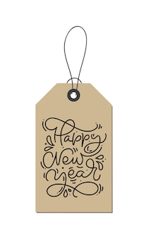 Feliz año nuevo caligráfico escrito a mano texto de navidad monoline en etiqueta kraft