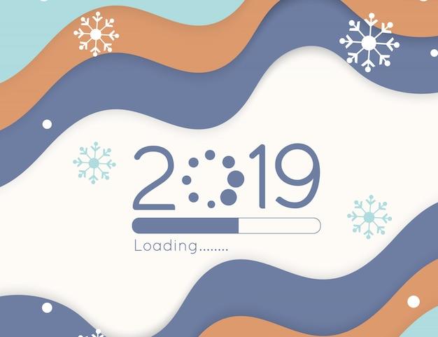 Feliz año nuevo carga progreso pronto 2019 barra de corte de papel de onda de color suave y caída de nieve