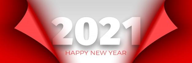 Feliz año nuevo cartel de 2021. cinta roja con bordes curvos sobre fondo blanco. pegatina.