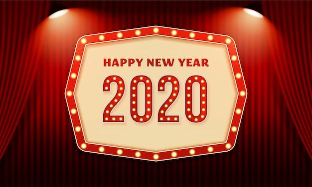 Feliz año nuevo cartel de celebración de texto de tipografía de cartelera 2020