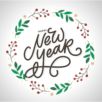 Feliz año nuevo. cartel hermoso de la tarjeta de felicitación con fuegos artificiales del oro de la palabra del texto del negro de la caligrafía. elementos dibujados a mano.