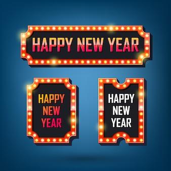 Feliz año nuevo carteles de bombillas eléctricas marcos de luz retro.