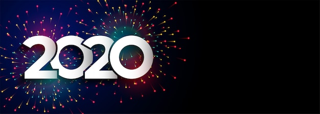 Feliz año nuevo celebración 2020 fuegos artificiales banner