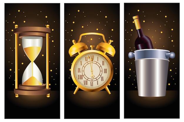 Feliz año nuevo celebración con champán y tiempo dorado iconos ilustración